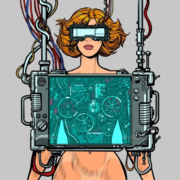 Cyberpunk Female Robot Wearing Virtual Reality - People Characters