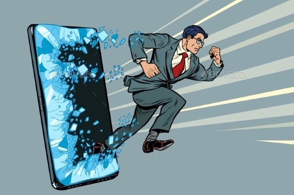Businessman Punches the Screen Phone Gadget - Miscellaneous Conceptual