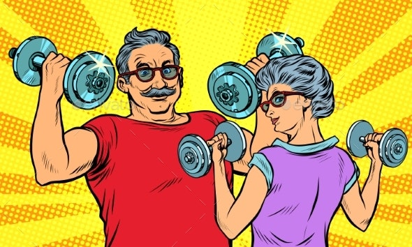 Elderly Man and Woman Retired - People Characters