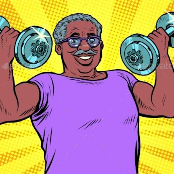 Elderly Man Lifts Dumbbells Fitness Sport