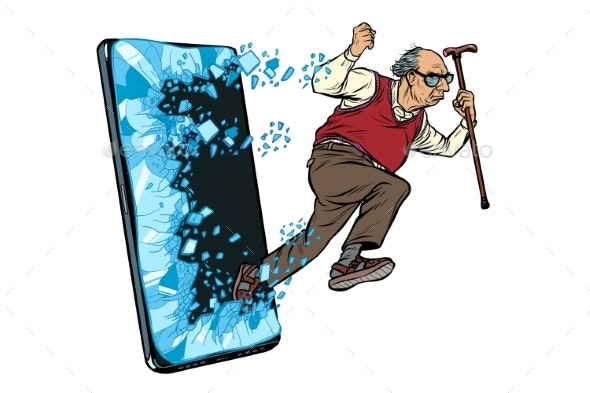 Old Man Retired Grandfather Phone Gadget - Miscellaneous Conceptual