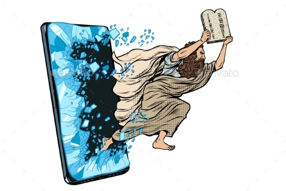 Moses the Prophet with the Tablets of Commandments - Religion Conceptual