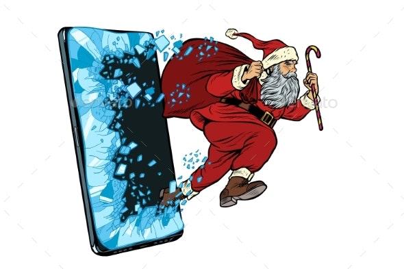 Christmas Online Sales Concept Santa Claus Comes - Christmas Seasons/Holidays