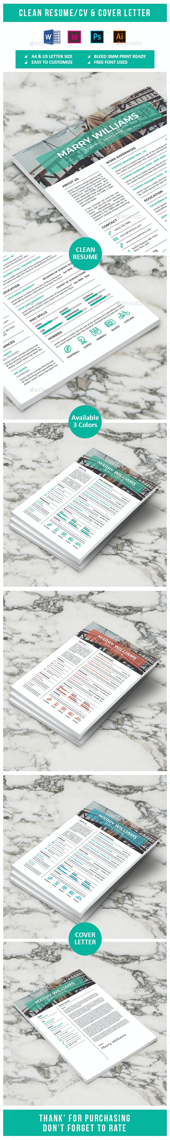 Clean Resume & Cover Letter Vol 5 - Resumes Stationery
