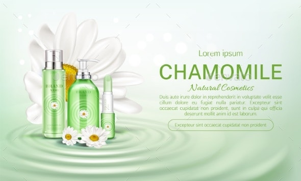 Chamomile Eco Cosmetics Bottles Mock Up Banner - Health/Medicine Conceptual