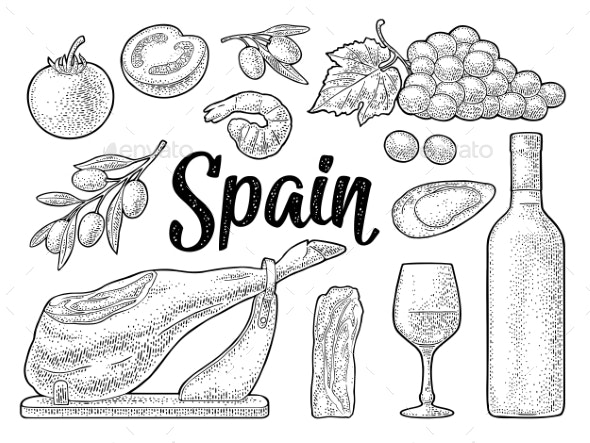 Spain Traditional Food Set - Food Objects