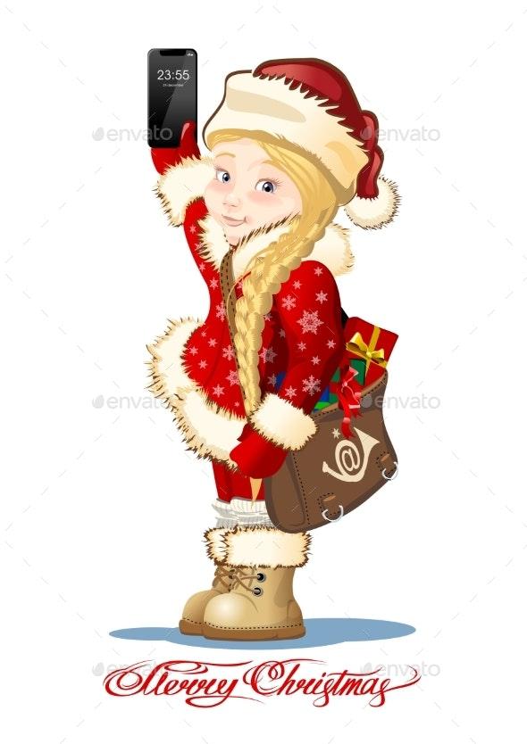 Christmas Card with Cartoon Snow Maiden - Postman - New Year Seasons/Holidays