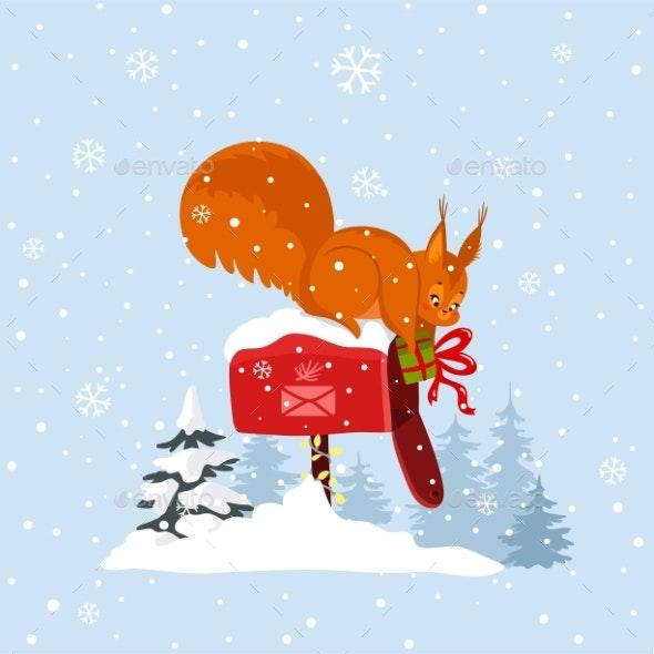 Cartoon Squirrel - Christmas Seasons/Holidays
