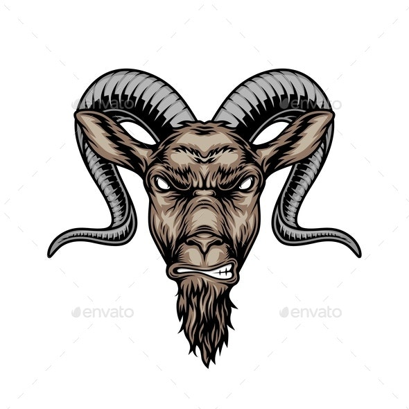 Colorful Angry Horned Goat Head - Animals Characters