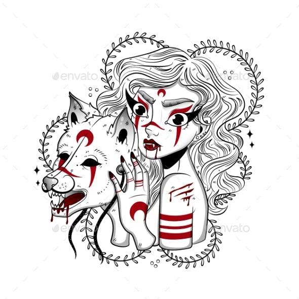 Werewolf Girl Tattoo with Wolf Mask