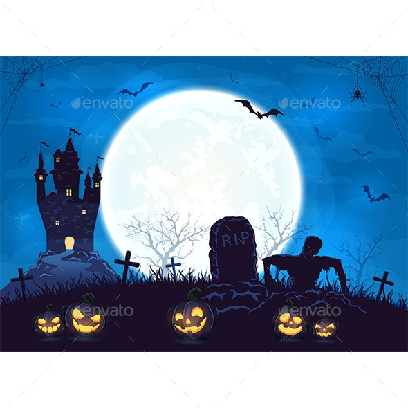 Blue Halloween Background with Castle and Pumpkins - Halloween Seasons/Holidays
