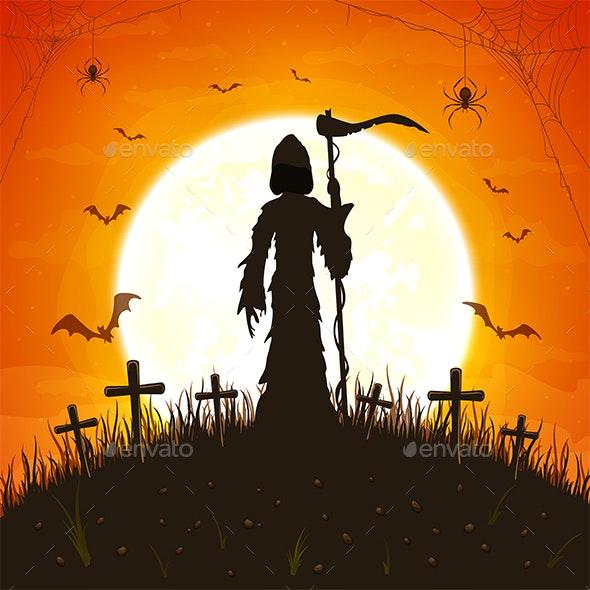 Dark Silhouette with Scythe on Orange Background - Halloween Seasons/Holidays