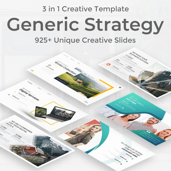 3 in 1 Generic Strategy Creative and Busniess Bundle Google Slide Pitch Deck Template