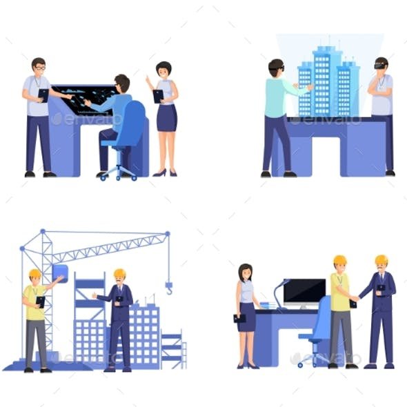 Building Industry Flat Vector Illustrations Set