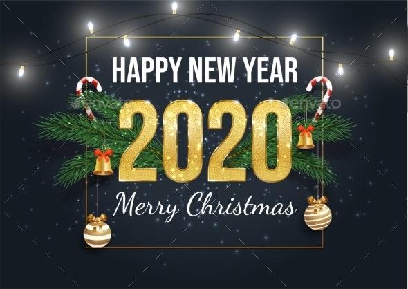 Happy 2020 Year Greeting Card Template - New Year Seasons/Holidays