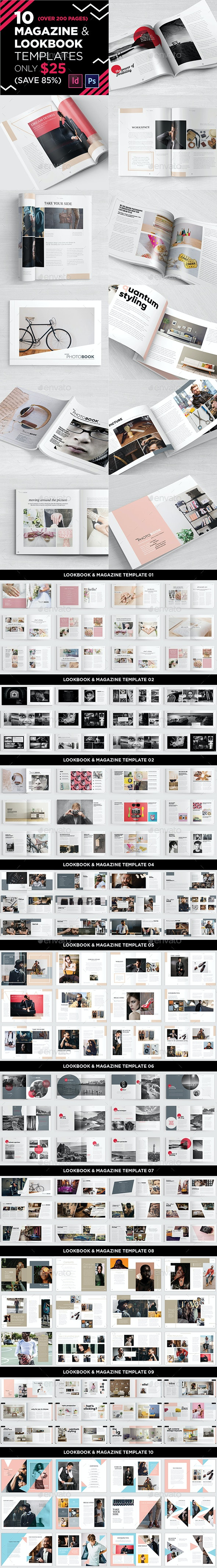 10 Magazine/Lookbook Template InDesign & Photoshop - Magazines Print Templates