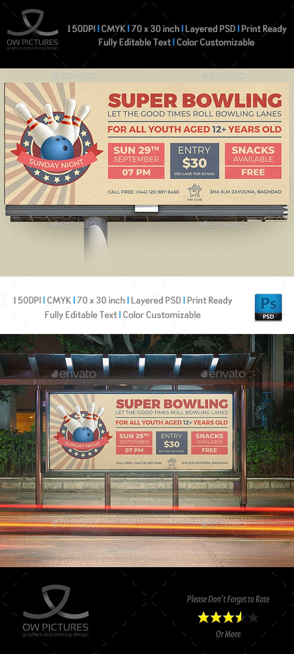 Bowling Billboard Template - Signage Print Templates