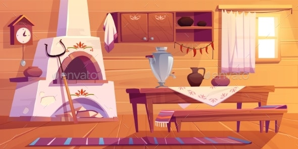 Old Russian Kitchen Empty Interior with Stove - Buildings Objects