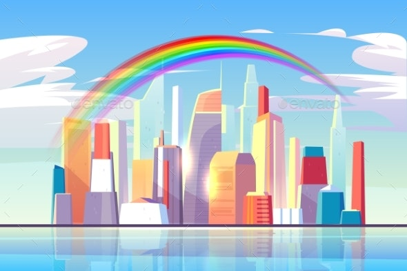 Rainbow Above City Skyline Architecture Waterfront - Buildings Objects