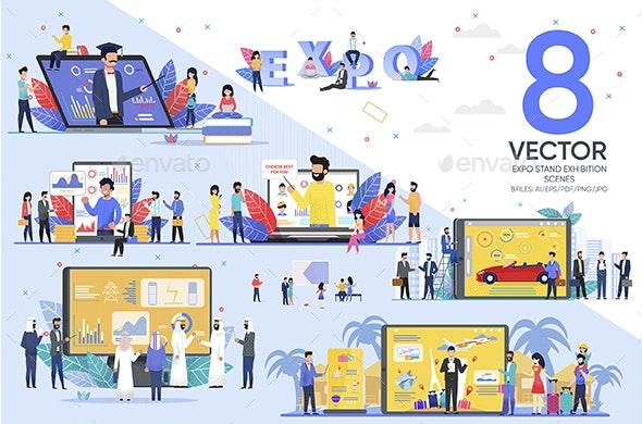 Expo Stand Exhibition Scenes - Miscellaneous Vectors