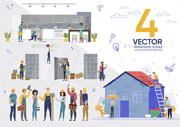 Vector Repair Home Scenes - Services Commercial / Shopping