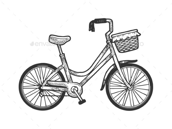 Female Urban Bicycle Sketch Engraving Vector - Man-made Objects Objects