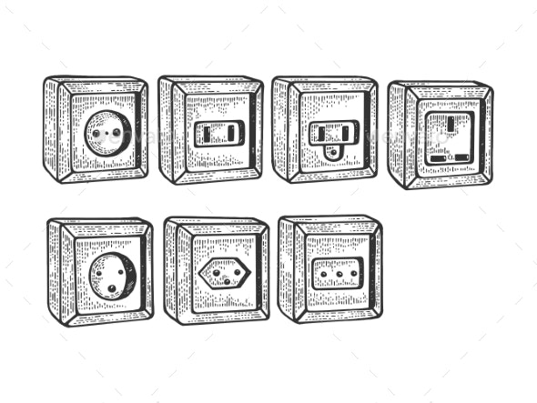 Power Sockets of Different Countries Sketch Vector - Man-made Objects Objects