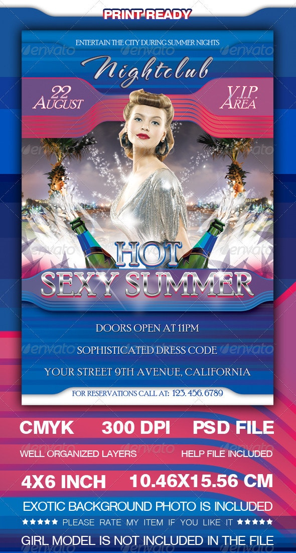 Hot Sexy Summer Nights Flyer Template - Clubs & Parties Events