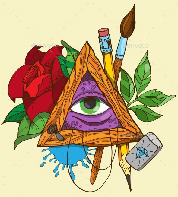 All Seeing Eye Pyramid Symbol - Miscellaneous Vectors