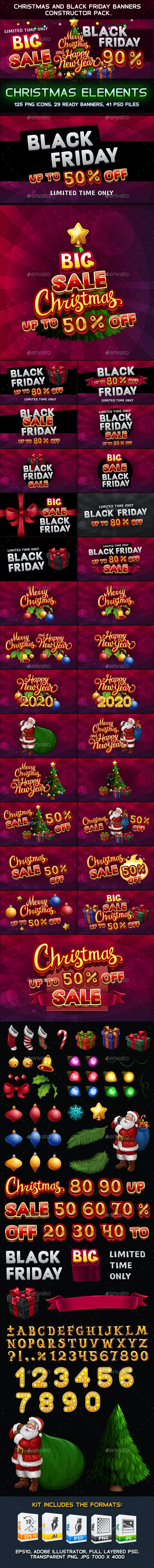 Christmas and Black Friday Banners Constructor Pack - Christmas Seasons/Holidays