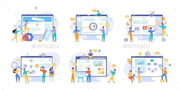 Website Performance and Business Analytics Vector - Concepts Business
