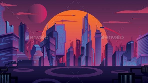 Futuristic City Landscape - Buildings Objects