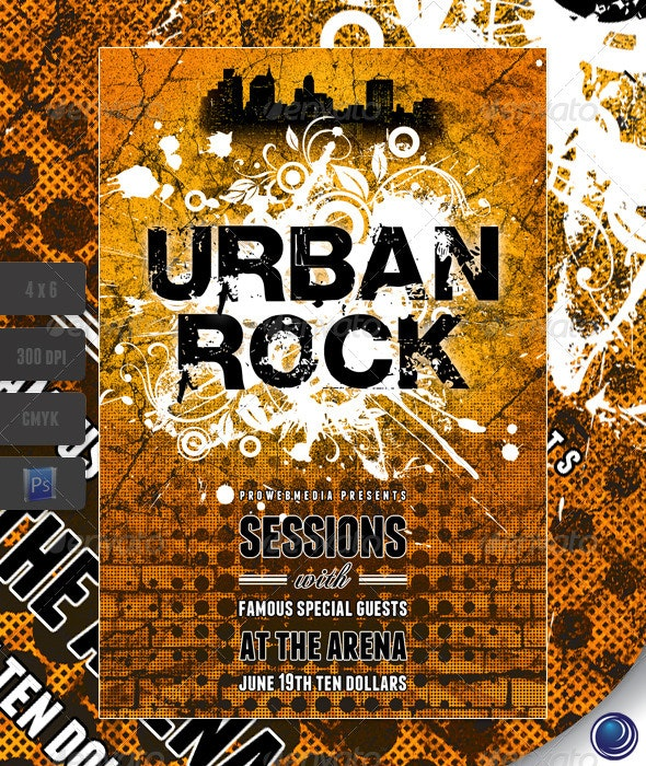 Grunge Urban Rock Flyer Template - Clubs & Parties Events