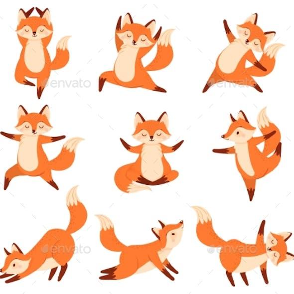 Cartoon Fox In Yoga Poses By Tartila Graphicriver