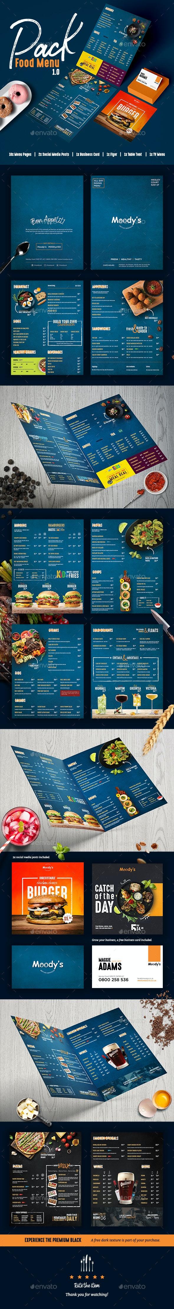 Food Menu Pack | Restaurant Menu | Cafe Menu | Bar Menu - Food Menus Print Templates