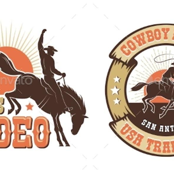 Rodeo Retro Emblem with Cowboy Horse Rider
