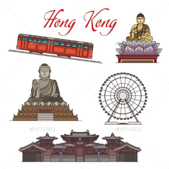 Asian Travel Landmarks of Hong Kong Architecture