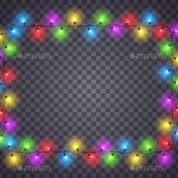 Frame with Light Garland Christmas Photo Image