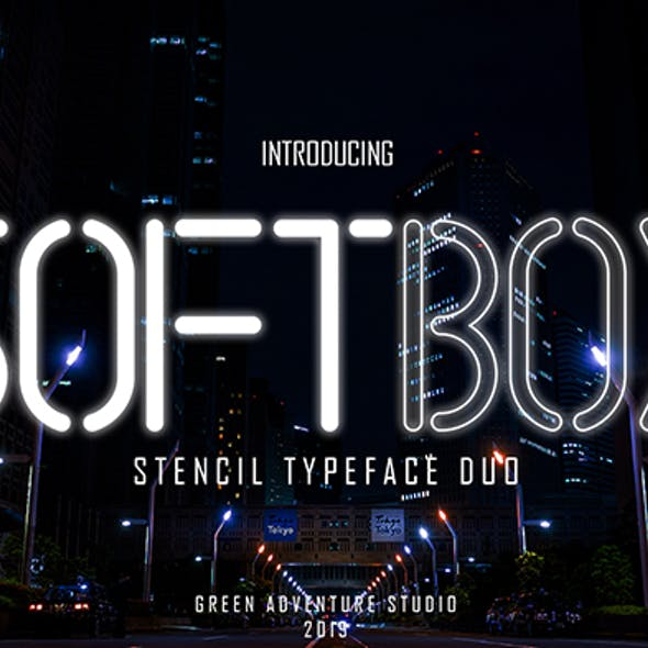 Softbox | Stencil Typeface Font Duo