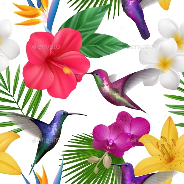Tropical Pattern Colibri with Exotic Flowers - Animals Characters