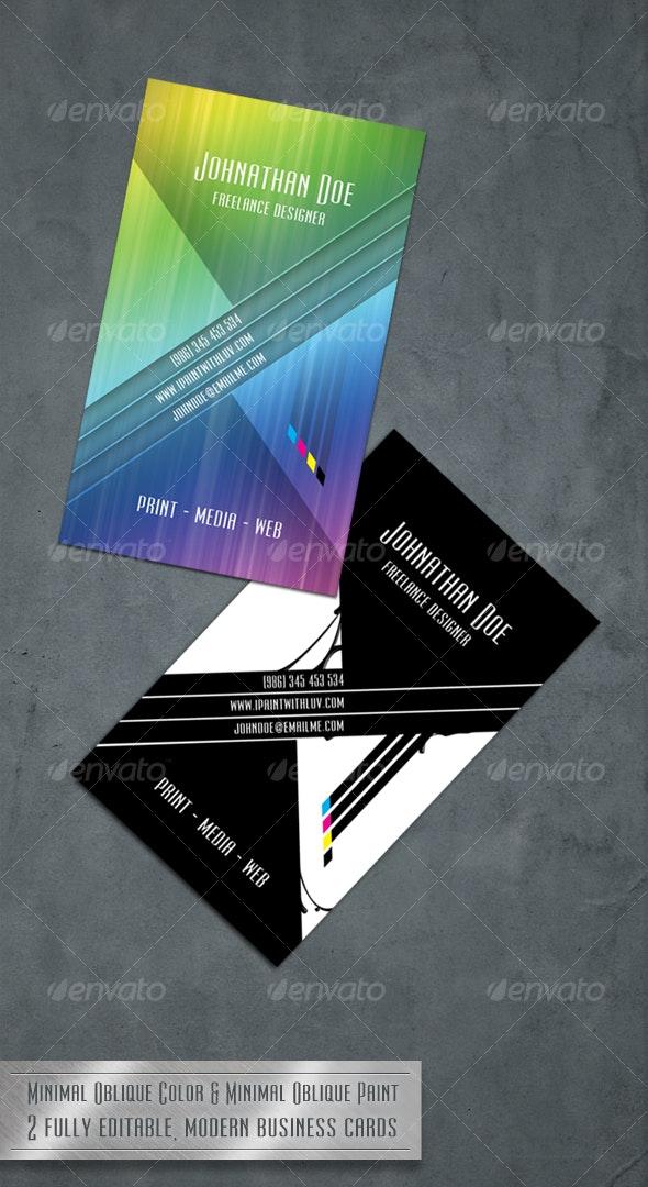 Minimal Oblique - Modern Business Card - Creative Business Cards