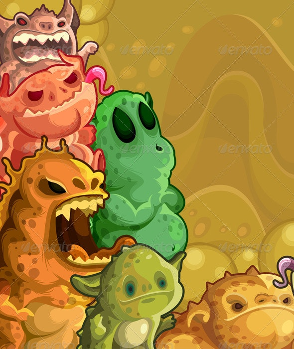 Monsters horizontal background - Characters Vectors