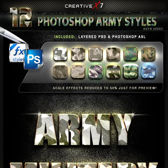 CreativeX7 - 12 Photoshop Army Styles
