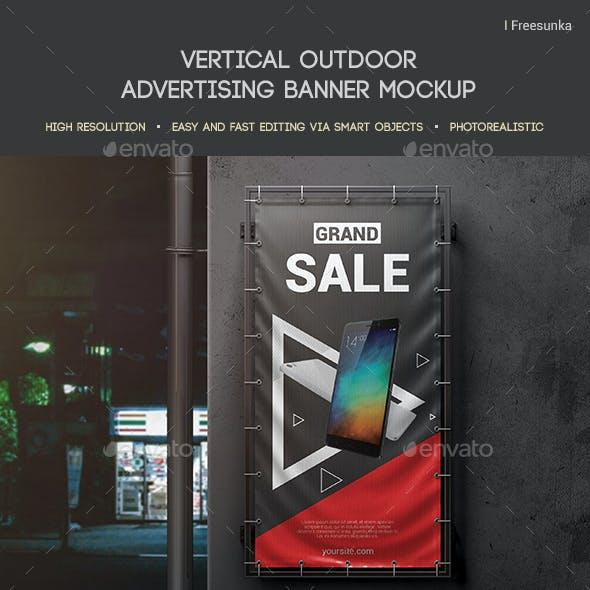 Vertical Outdoor Advertising Banner Mockup