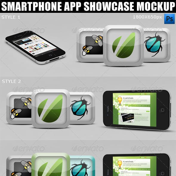 Smartphone App Showcase Mockup