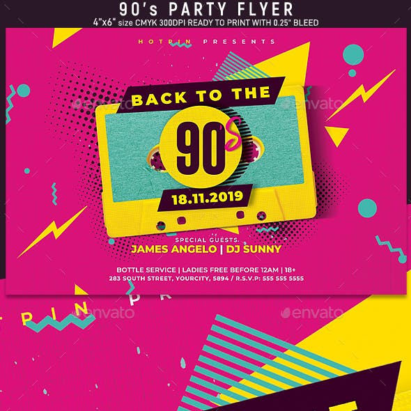 Retro 90s Party Flyer