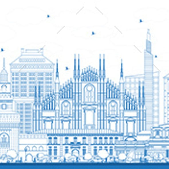 Outline Milan Italy City Skyline with Blue Buildings