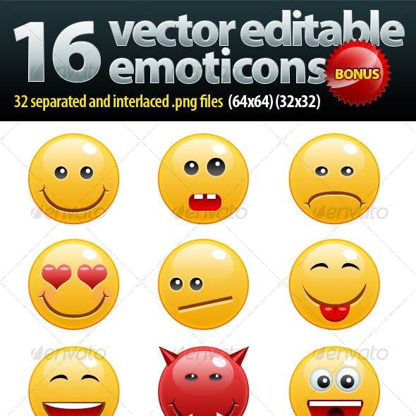 16 non rasterized emoticons pack + bonus