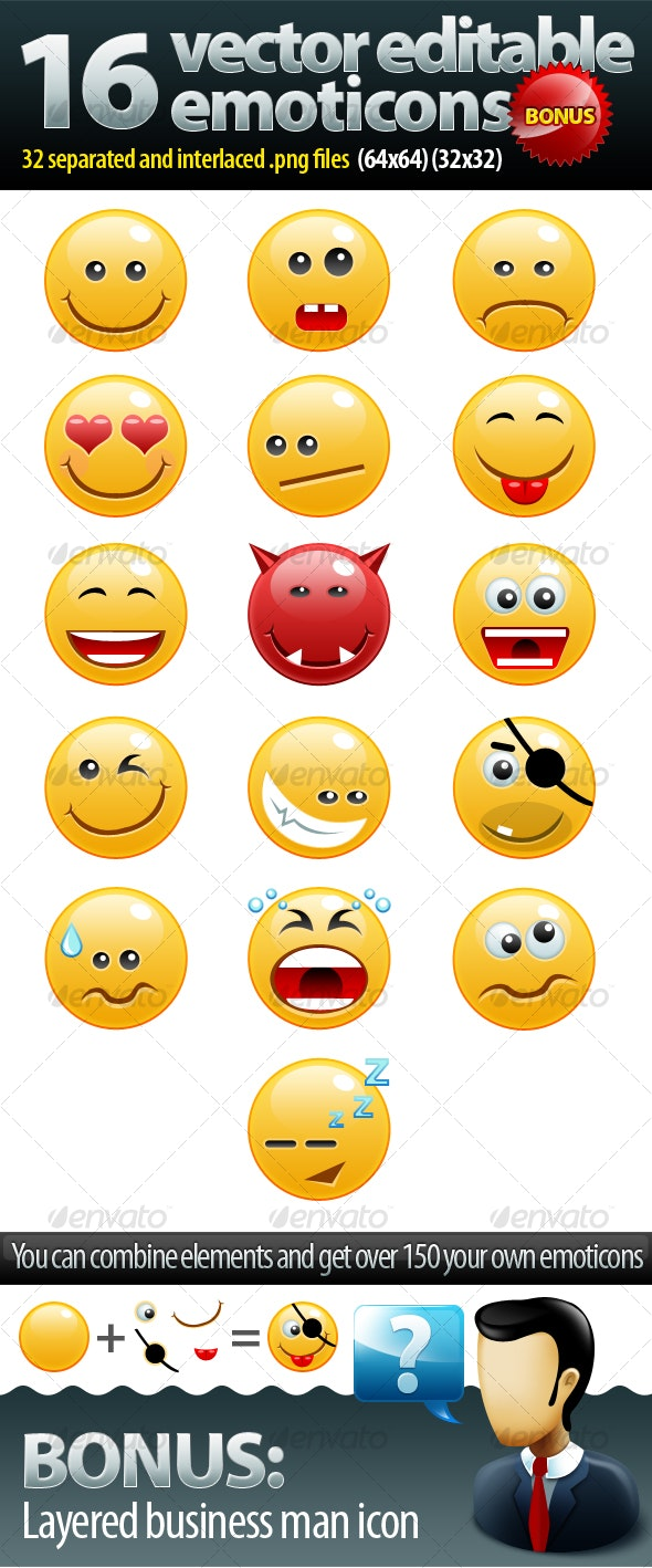 16 non rasterized emoticons pack + bonus - Miscellaneous Characters