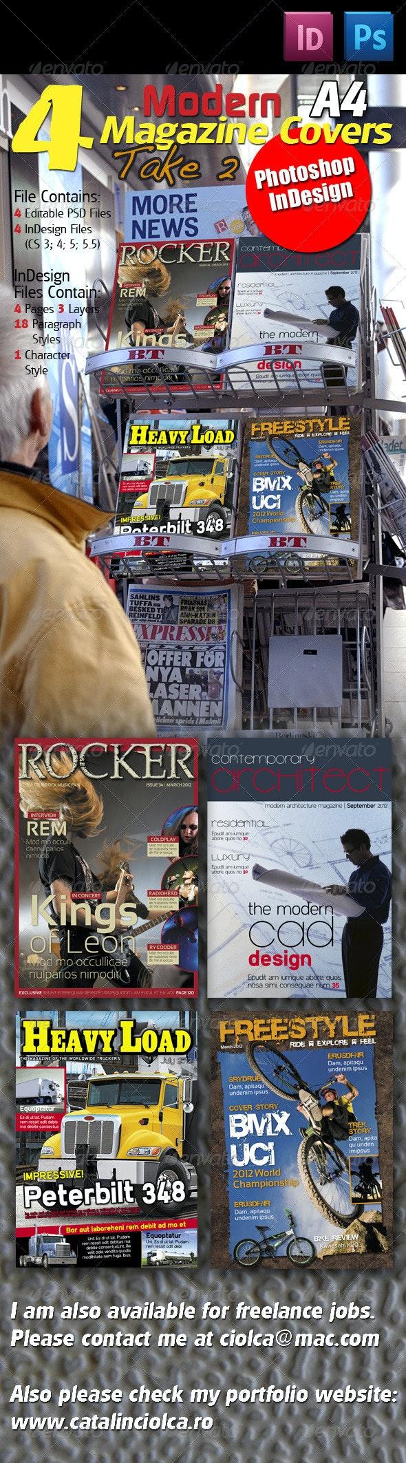 4 Modern Magazine Covers Take Two - Magazines Print Templates